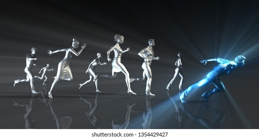 Career Development and Business People Running in a Race 3D Render