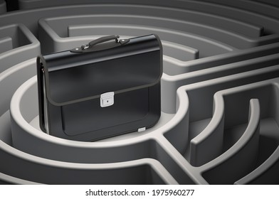 Career Development concept. Briefcase at center of dark maze, 3D rendering
