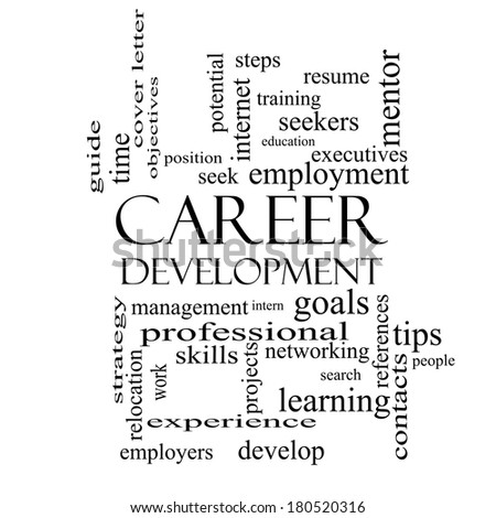 Career Development Word Cloud Concept Black Stockillustration