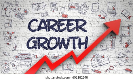 Career Growth Drawn on Brick Wall.