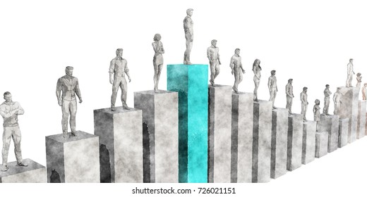Career Growth and Standing Above the Rest 3D Illustration Render
