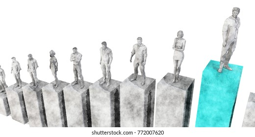 Career Growth and Standing Above the Rest 3d Render