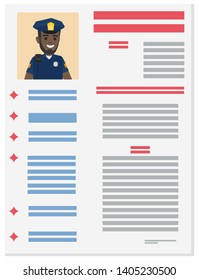 Career information leaflet flat raster. policeman resume page with applicant portrait and personal data. curriculum vitae or dossier. profession presentation sheet illustration for labor day concept