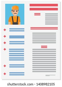 Career information leaflet flat raster. service man resume page with applicant portrait and personal data. curriculum vitae or dossier. profession presentation sheet illustration for labor day concept