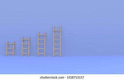 Career ladders-higher and higher. Conceptual business illustration. 3D render