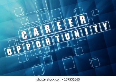 career opportunity - text in 3d blue glass cubes with white letters, business profession growth concept