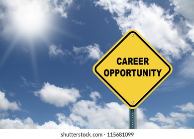 Career opportunity yellow road sign
