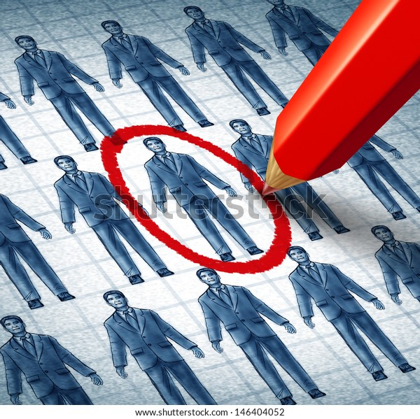 Career search and job searching hiring the right candidate as an employment concept with drawings of businessmen with a red pencil selecting the most qualified leader as a symbol of recruitment.