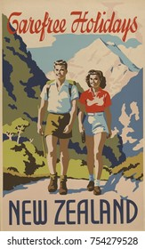 Carefree holidays New Zealand. 1930's travel poster shows a young man and woman hiking in the mountains.