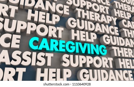 Caregiving Assistance Help Support Caregiver Words 3d Render Illustration