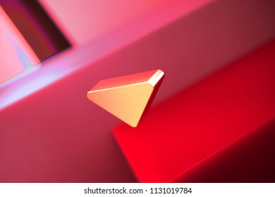 Caret Down Icon on the Red Geometric Background. 3D Illustration of Metallic Arrow, Caret, Down, Download Icon Set With Color Boxes on Red Background.