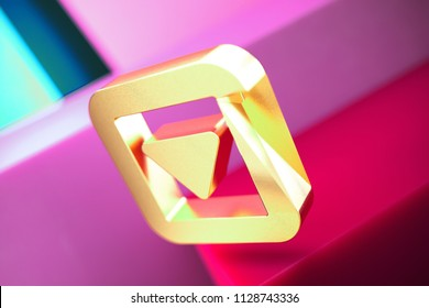 Caret Down in Square Icon on the Candy Magenta and Cyan Geometric Background. 3D Illustration of Gold Arrow, Caret, Down, Pointer, Select, Selector Icon Set With Color Boxes on Magenta Background.
