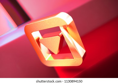 Caret Down in Square Icon on the Red Geometric Background. 3D Illustration of Metallic Arrow, Caret, Down, Pointer, Select, Selector Icon Set With Color Boxes on Red Background.