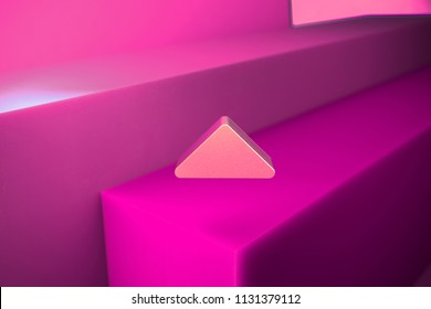 Caret Up Icon. 3D Illustration of Metallic Arrow, Caret, Drop Up, Up, Upload Icon Set With Boxes on Magenta Background.