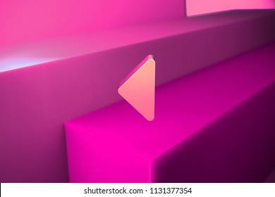 Caret Left Icon. 3D Illustration of Metallic Arrow, Back, Care, Caret, Left, Previous Icon Set With Boxes on Magenta Background.