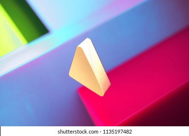 Caret Left Icon on the Violet and Contrast Green Geometric Background. 3D Illustration of Gold Arrow, Back, Care, Caret, Left, Previous Icon Set With Installation of Color Boxes.