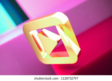 Caret Right in Square Icon on the Candy Magenta and Cyan Geometric Background. 3D Illustration of Gold Arrow, Audio, Caret, Next, Play, Player, Right Icon Set With Color Boxes on Magenta Background.