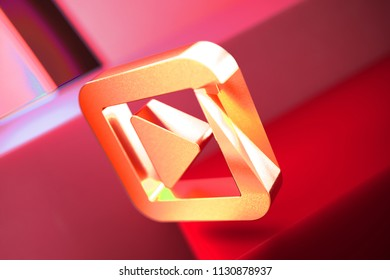 Caret Right in Square Icon on the Red Geometric Background. 3D Illustration of Metallic Arrow, Audio, Caret, Next, Play, Player, Right Icon Set With Color Boxes on Red Background.