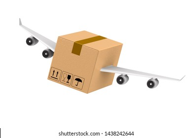 cargo box with wings on white background. Isolated 3D illustration