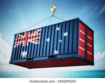 Cargo container with flag of Australia against blue sky. 3D illustration.