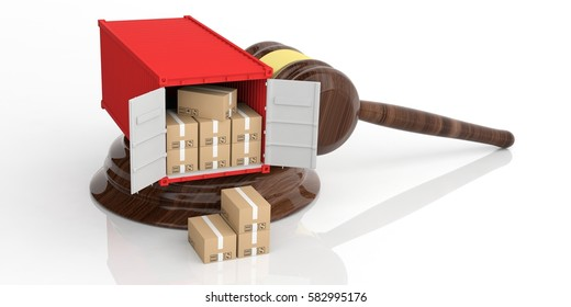 Cargo container on an auction gavel isolated on white background. 3d illustration