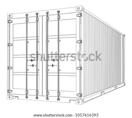 Cargo Container On White Background Wireframe Stock Illustration ...