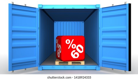 Cargo container with sixty percentage discount. Open blue cargo container with big red cube labeled sixty (60%) percentage discount symbol on euro pallet. Isolated. 3D Illustration