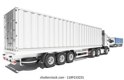 Cargo Container Trucks in Opposite Directions 3d rendering