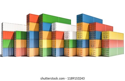 Cargo Containers in Differing Colors on White Background 3d rendering