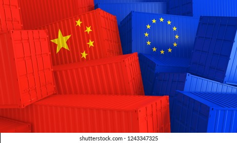 cargo containers with flags of Europe and China. The concept of trade between Europe and China. 3d illustration.