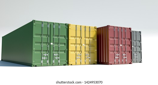 cargo containers isolated on white 3d illustration