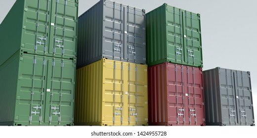 cargo containers isolated on white background 3d illustration