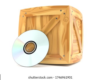 Cargo crate with cd disc isolated on white background. 3d illustration