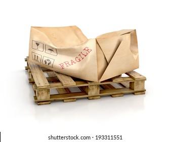Cargo, delivery and transportation industry concept. Cardboard damaged package on wooden pallet. 3d illustration