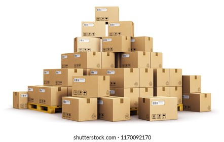 Cargo, delivery and transportation logistics storage warehouse industry business concept: 3D render of the group or pile of stacked corrugated cardboard boxes on wooden shipping pallets isolated white