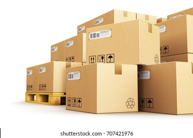 Cargo, delivery and transportation logistics storage warehouse industry business concept: 3D render of the group of stacked corrugated cardboard boxes on wooden shipping pallets isolated on white