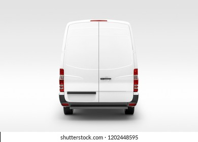Cargo Express Van Vehicle back view. 3D rendering