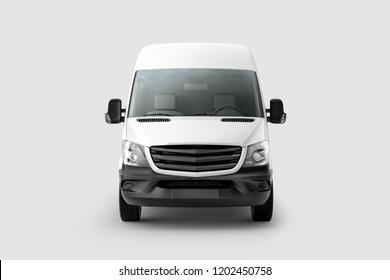 Cargo Express Van Vehicle front view. 3D rendering