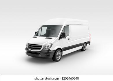 Cargo Express Van Vehicle prespective view. 3D rendering