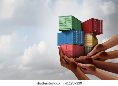 Cargo group shipping concept and international free trade agreement symbol as a group of diverse ethnic hands holding freight containers with 3D illustration elements.