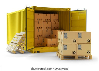 Cargo handling operation, freight transportation concept, open container full of cardboard boxes and stack of packages on pallet isolated on white background