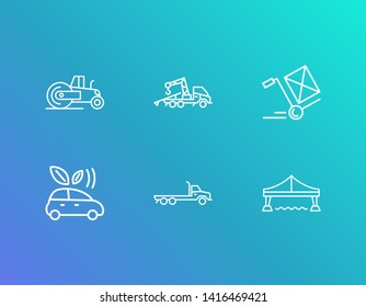 Cargo icon set and towing truck with steamroller, eco car and flatbed truck. Golden gate related cargo icon  for web UI logo design.