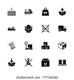 Cargo icons. Flat Simple Icon - Black Illustration on White Background.