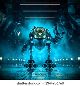 Cargo loader mech / 3D illustration of science fiction scene with female astronaut controlling heavy industrial mech robot inside dark industrial space ship corridor