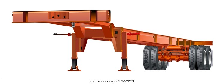 Cargo semi trailer chassis isolated on white background