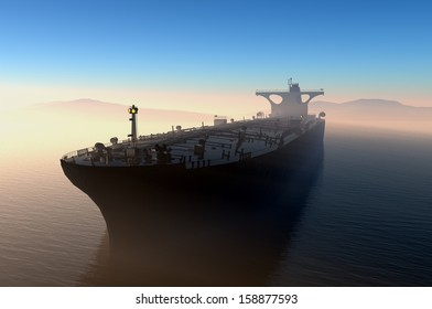 The cargo ship in the evening