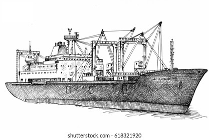 Cargo ship, reefer Baltic Forward. Illustration. Original drawings by hand