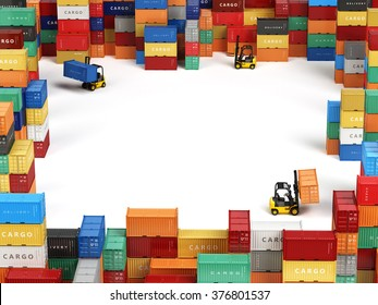 Cargo shipping containers in storage area with forklifts and space for text. Delivery transportation concept. 3d