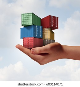Cargo shipping support concept as a hand holding a group of freight containers as a transport and logistics or commerce metaphor with 3D illustration elements.