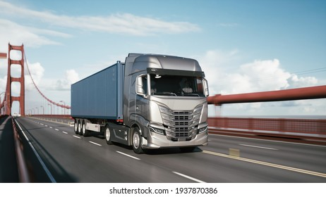 Cargo truck with container driving on the bridge. Semi-Truck with Cargo Trailer. 3d illustration